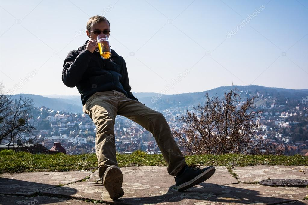 Floating Mid Air Drinking Beer Over Stuttgart Germany Stock Photo