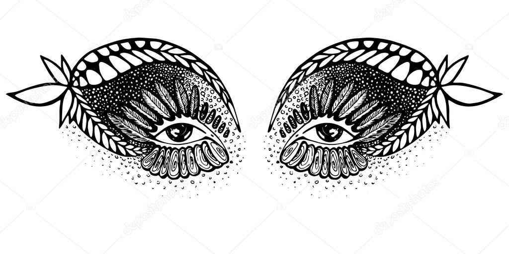 Vector Abstract Drawing Of Eyes Indian Motive Stock