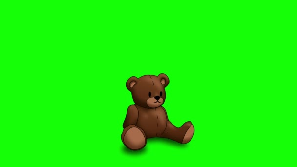 Animated Teddy Bear on Green Screen