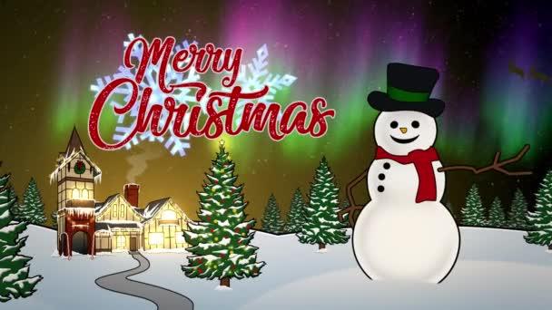 Veselé Vánoce Animované karty se sněhulákem na severním pólu v noci