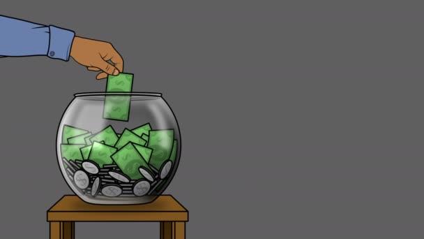 Peníze přidány k ilustraci úspor na Alpha Matte