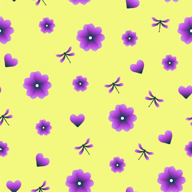 Cute vector illustration with abstract purple, heart, flowers and dragonfly on the yellow background