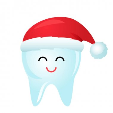 Cute tooth character in red santa claus hat smiling. vector illustration. christmas and new year concept icon