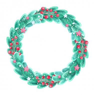 Watercolor snowy festive wreath with red berries and decorative stars