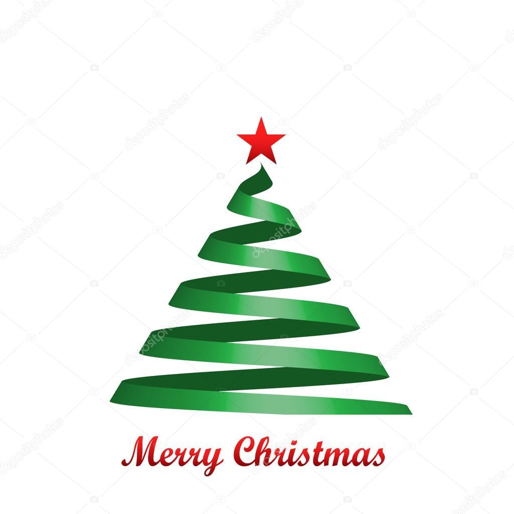 様式化されたリボン クリスマス ツリー カード ベクトル図 ストック