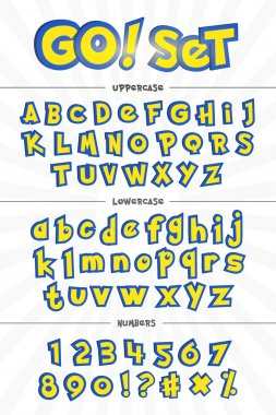 Alphabet, numbers, and phrases in cartoon style.
