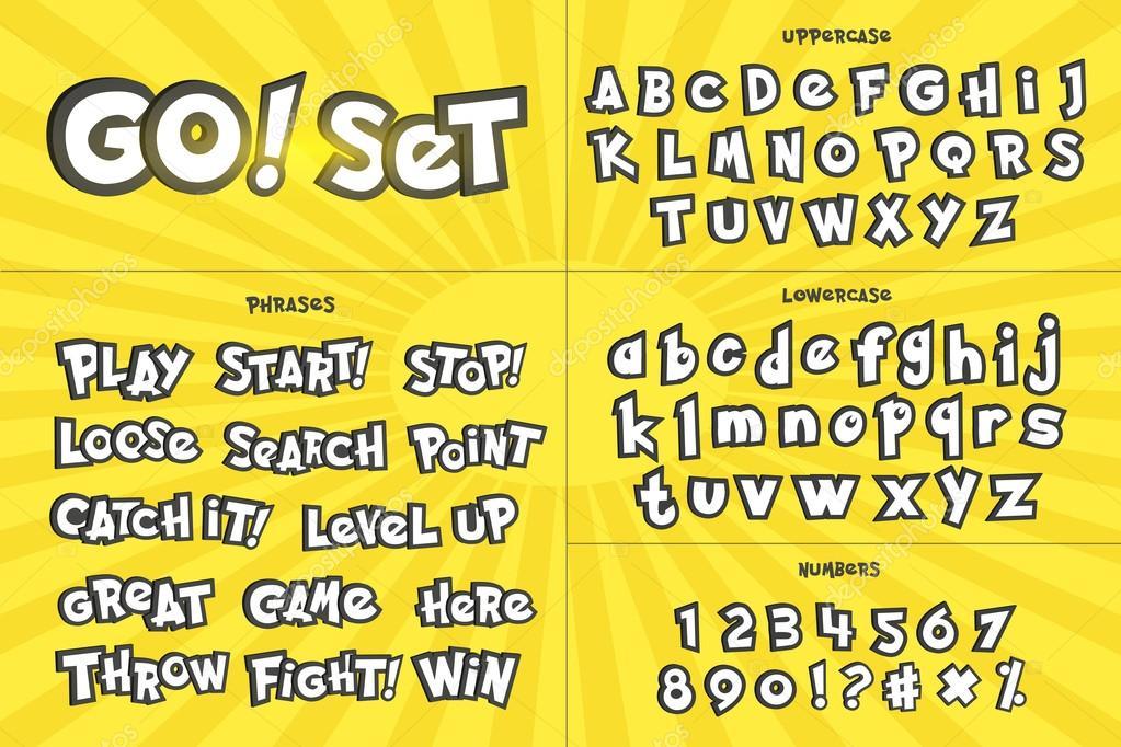 Alfabeto Números Y Frases En Estilo De Dibujos Animados
