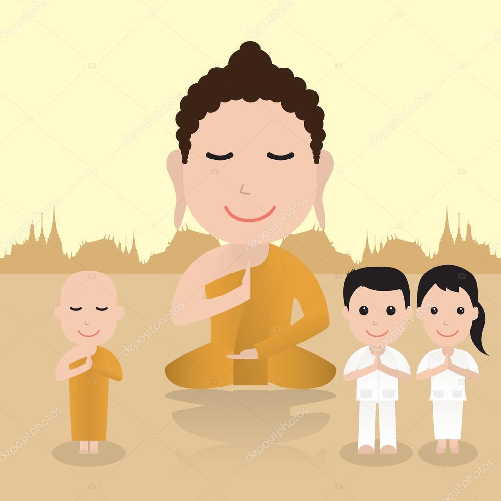 仏教漫画のイラスト — ストックベクタ