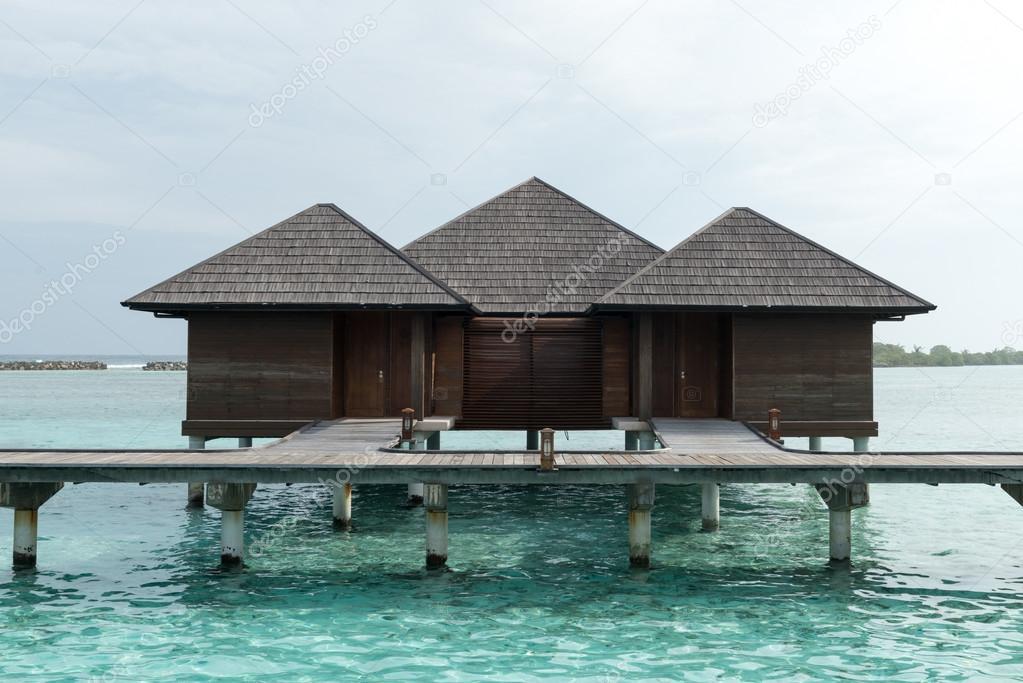 Maldives Villa Piles On Water Stock Photo Stock Editorial