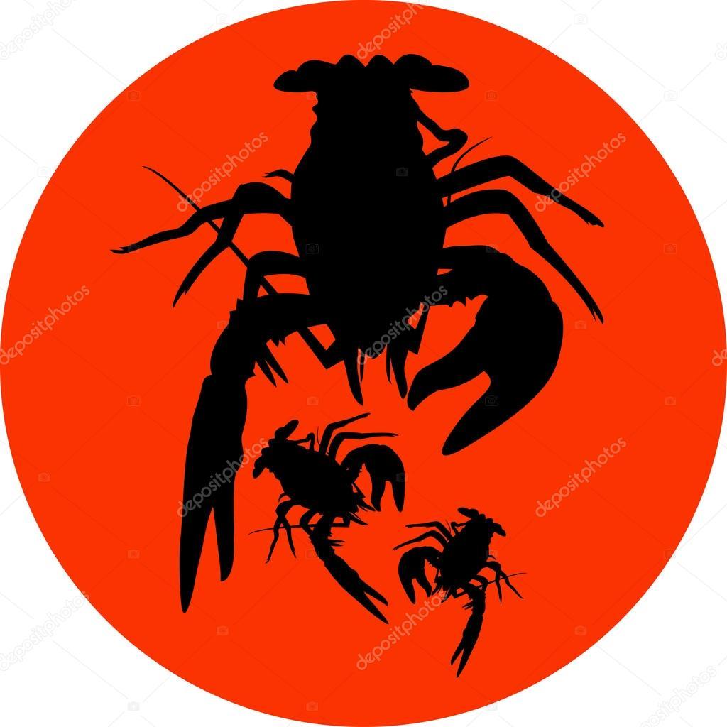 Crawfish Label Crawfish Silhouette Crayfish Icon Lobster Sign