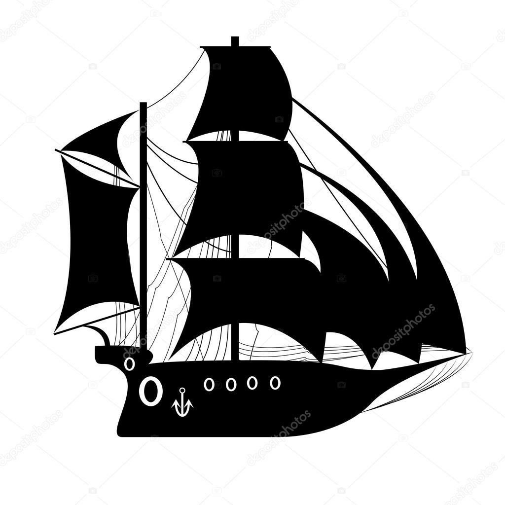 Barco pirata, navegando la nave bajo la bandera negra. Plantilla de ...