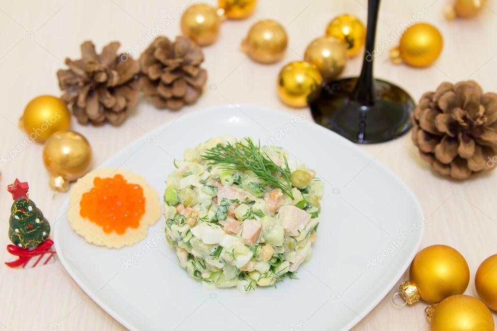 Traditional Russian christmas salad Olivier