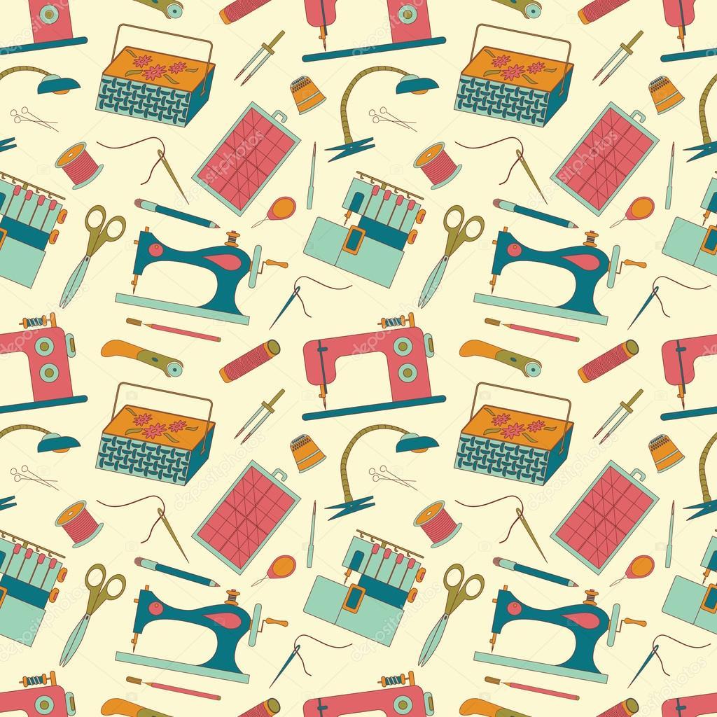 Nahtlose Muster nähen Werkzeuge Symbole — Stockvektor © olgankort ...