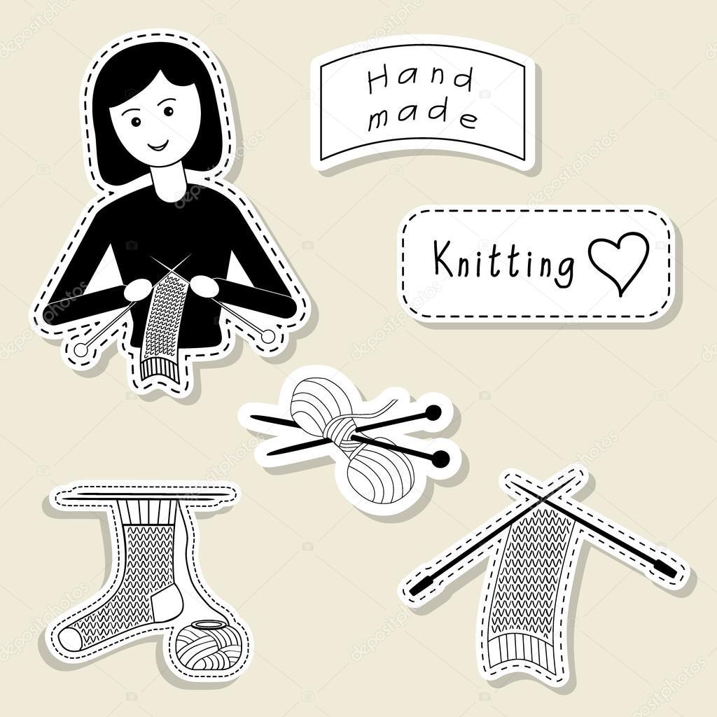 Vector Set Of Design Element Logo Badge Label Icon Decoration And Scrapbook Object Knitting Yarn Handmade Theme Crochet Knitt Girl