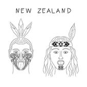 Fotografie New Zealand Maori tribe a man and a woman. Traditional tattoos ta moko and hats, feathers. Militant grmasy on their faces. Vector isolated illustration. Black contour.