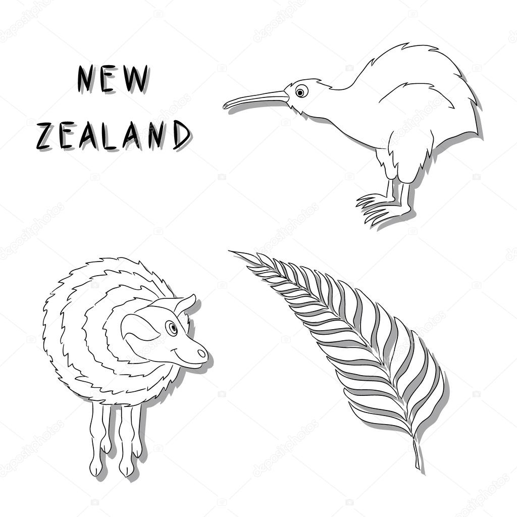 New Zealand symbols. A set of black line cartoon icons Kiwi bird, a sheep, a silver fern branch. Illustration drawn by hand. It can be used for coloring, printing, logo, buttons, cards.