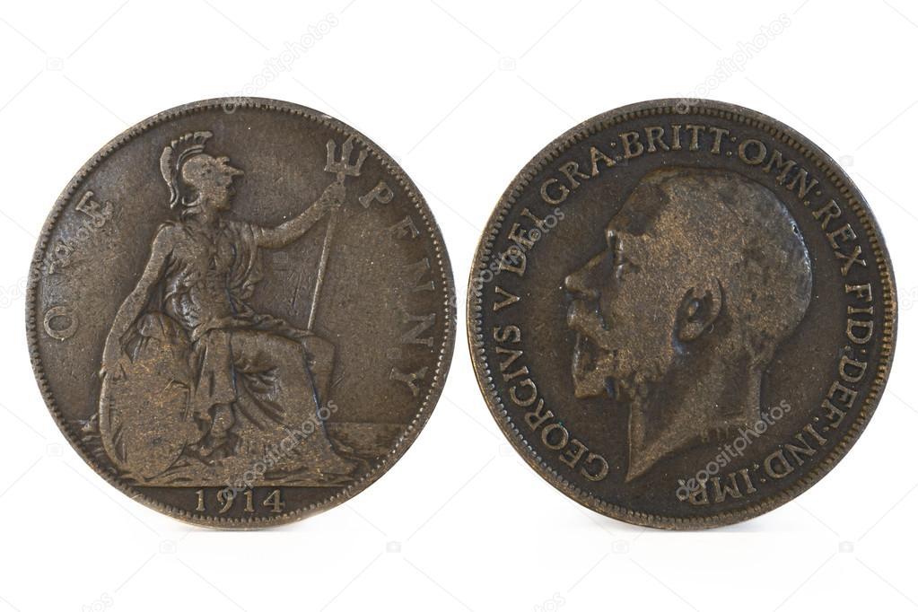 Alte Englische Penny Münze Stockfoto Rickdeacon 117481730