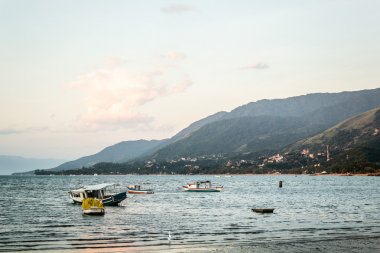 Boats and Mountains at Beautiful Island (Ilhabela) in San Paulo