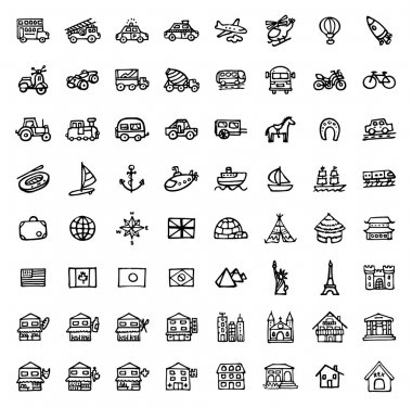64 black and white hand drawn icons - TRANSPORTATION & ARCHITECTURE