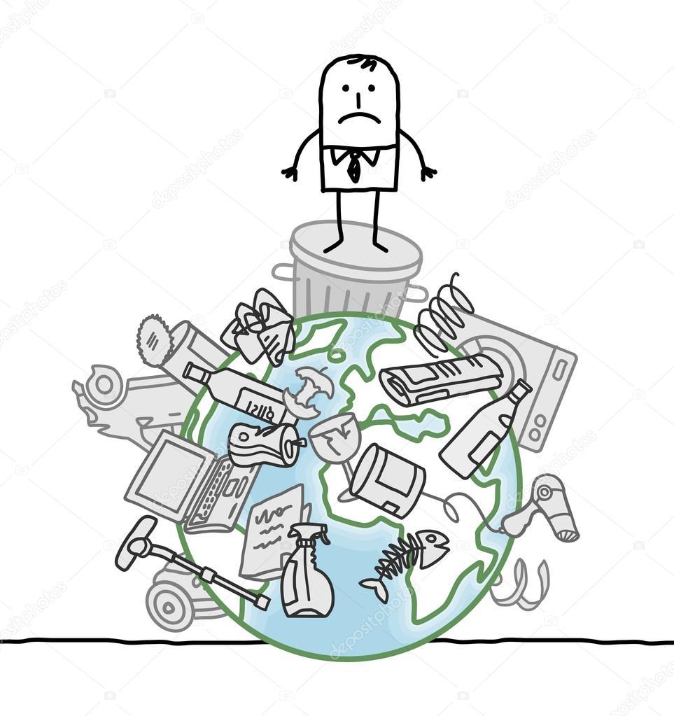 Imágenes Dibujo Mundo Contaminado Hombre En Un Mundo Contaminado