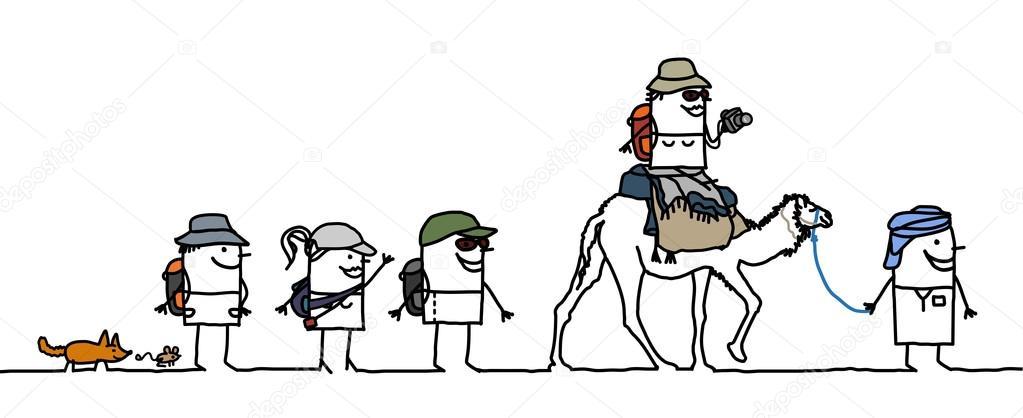 Personas De Dibujos Animados Caminar En El Desierto