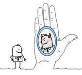 Velký ruce a kreslený podnikatel - odraz v zrcadle