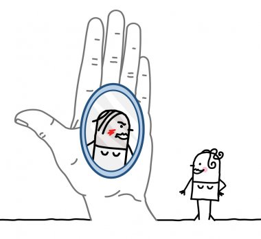 Big hand and cartoon character - reflection in the mirror