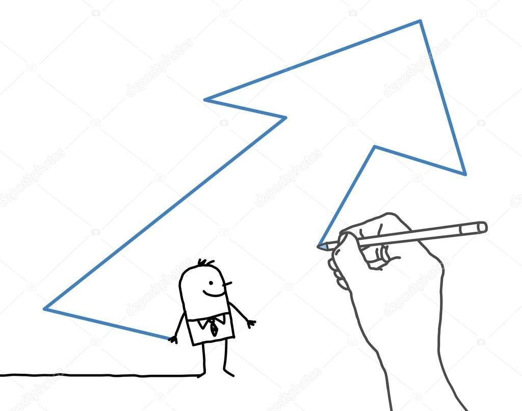 Dibujo De Mano Grande Y Empresario De Dibujos Animados