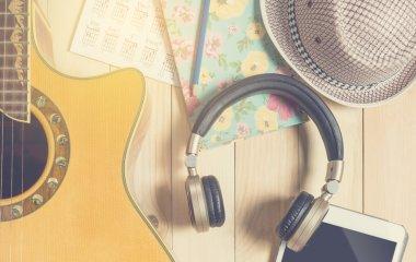 Summer Musician equipment, Guitar with headphone notebook