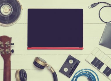 Computer Music Equipments. Tablet Entertainment Technology. Computer Hardware top view.