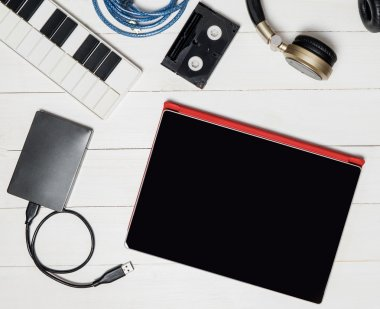 Music Hardwares on desk top Technology equipments.