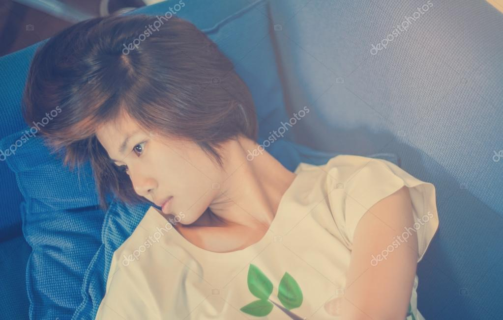Short Hair Asian Chinese Girl In Vintage Tone Stock Photo