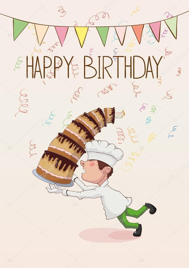 śmieszne życzenia Urodzinowe Upuszczając Ciasto Szefa Kuchni