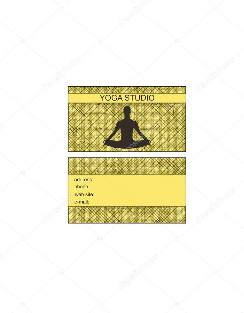 business card with a picture of a man in the lotus position on a ...