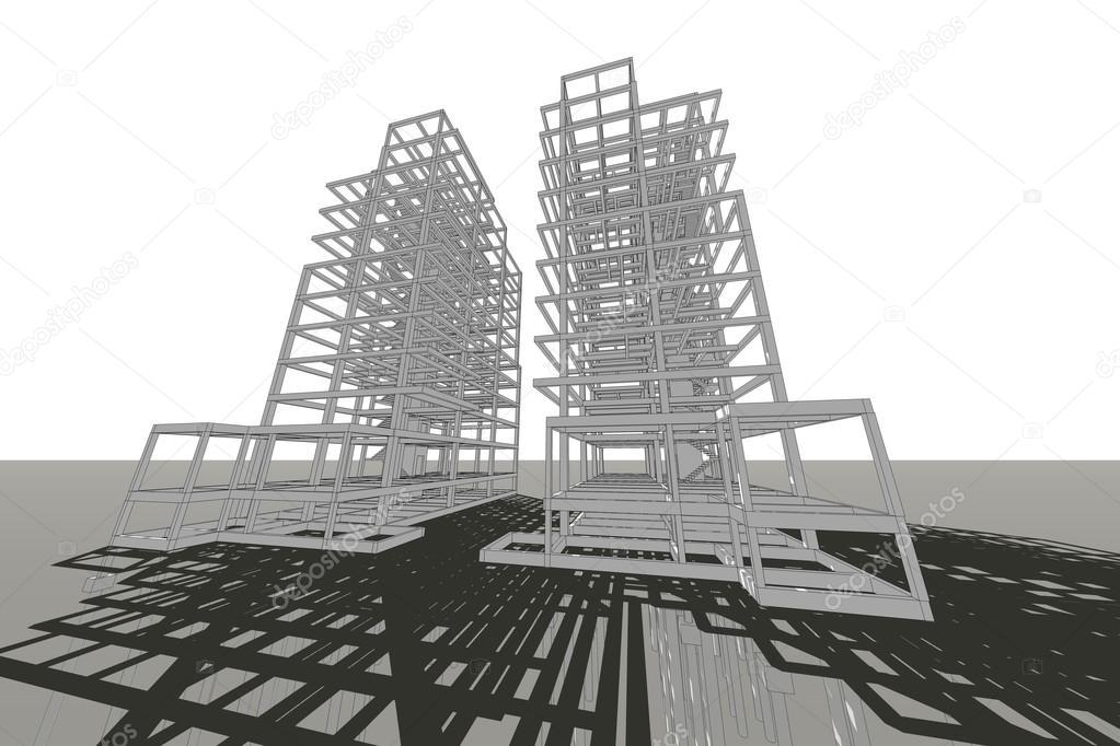 Alto edificio estructura abstracta ilustraci n for Estructura arquitectura