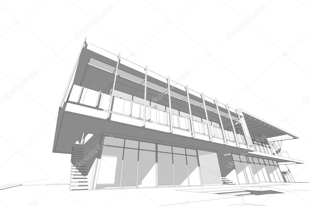 Modern Commercial Building Structure Architecture Drawing Abstract 3d Illustration Photo By Artintercool