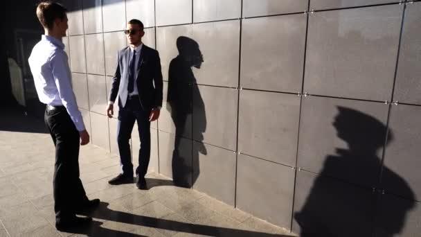 Business Team Standing Near Center Office Shake Hands Shadows