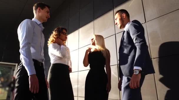 Business Team Making Deal Hands up Near Center Office Shake