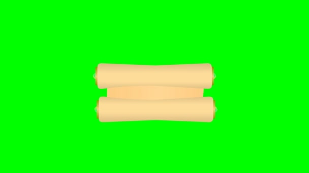 Animated scroll rolls out and in isolated on a green screen