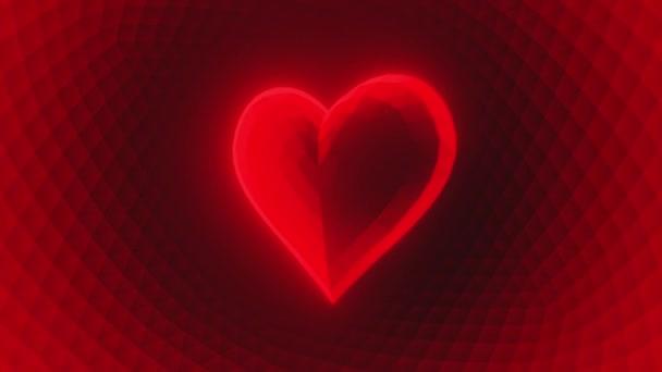 Srdce zářící červená nízká poly smyčka 3d vykreslení