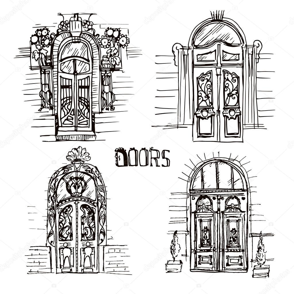 Hand Drawn Illustration Of Different Old Doors Sketch Style Vintage Unique And Beautiful Door Collection On The White Backgrounds
