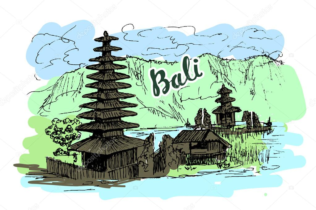 Bali Island Scetch Culture And Nature Balinese Hand Drawn Landscape