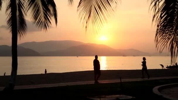 Silhouette shot of the beach with sunrise sun.