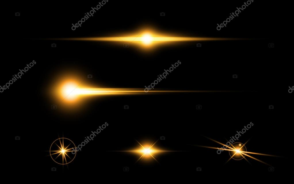 Abstract yellow flare effect elements