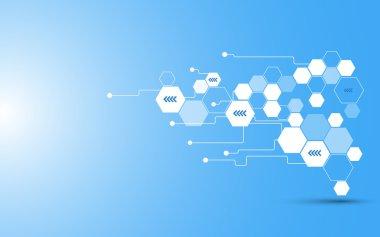 Hexagon telecommunication concept background