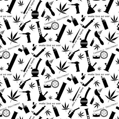 Cannabis equipment icons pattern