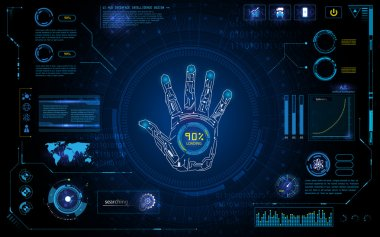 Futuristic hand scan identify with hud element interface screen monitor design background template stock vector