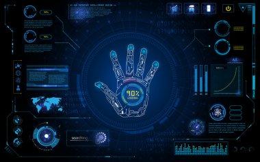 Futuristic hand scan identify