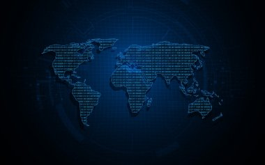 World map digital binary background