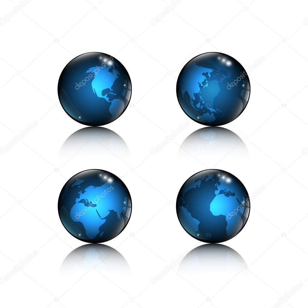 4 logos blue globe icons